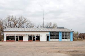 Business building in Rush Center, Kansas by Kathy Weiser-Alexander.