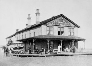 Harvey House in Rush Center, Kansas about 1895.