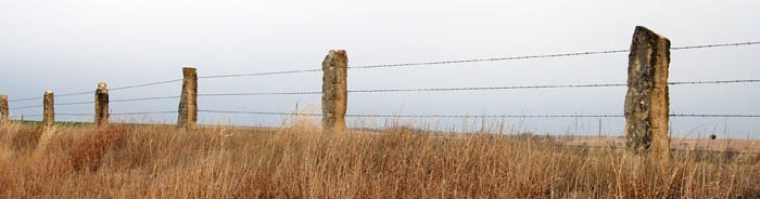 Post rock fence in Rush County by Kathy Weiser-Alexander.
