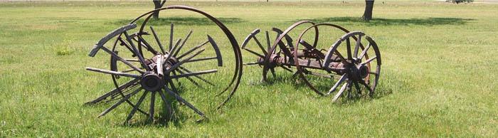 Old wagon wheels in Pawnee County, Kansas.