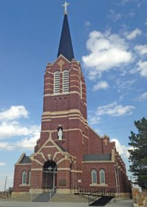 Immaculate Heart of Mary Catholic Church in the old town of Windhorst, Kansas courtesy Wikipedia.