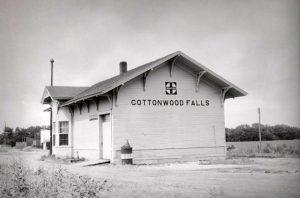 Atchison, Topeka & Santa Fe Railroad Depot in Cottonwood Falls, Kansas.