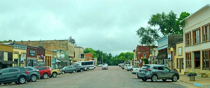 Cottonwood Falls, Kansas Business District by Kathy Weiser-Alexander.