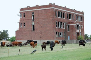 The old school in Gem, Kansas is in ruins today by Dave Alexander.