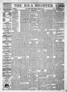 Iola, Kansas Register newspaper