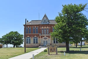 The old Logan County Courthouse in Russell Springs, Kansas now serves as the Butterfield Trail Museum by Kathy Weiser-Alexander.