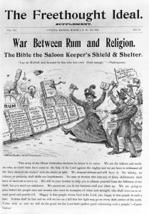 Carrie Nation fights the war against alcohol.