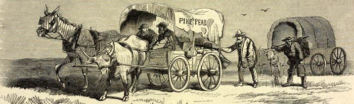 Pike's Peakers Crossing the Plains by Albert Bierstadt, 1859.