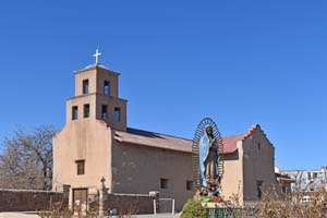 Church of San Guadaloupe in Santa Fe, New Mexico by Kathy Weiser-Alexander.