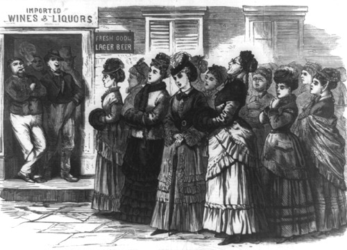 Ladies singing in barroom during the Temperance Movement, Leslies Illustrated newspaper, 1874