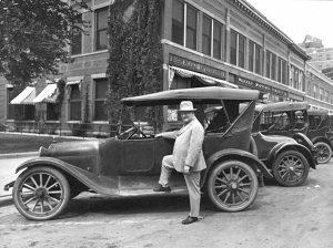 William Allen White in front of the Emporia Gazette.